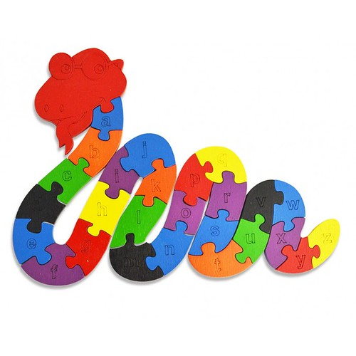 Lắp ghép đồ chơi gỗ - con rắn
