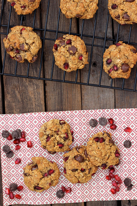 Pomegranate Chocolate Chip Oatmeal Cookies (Gluten-Free and Vegan)