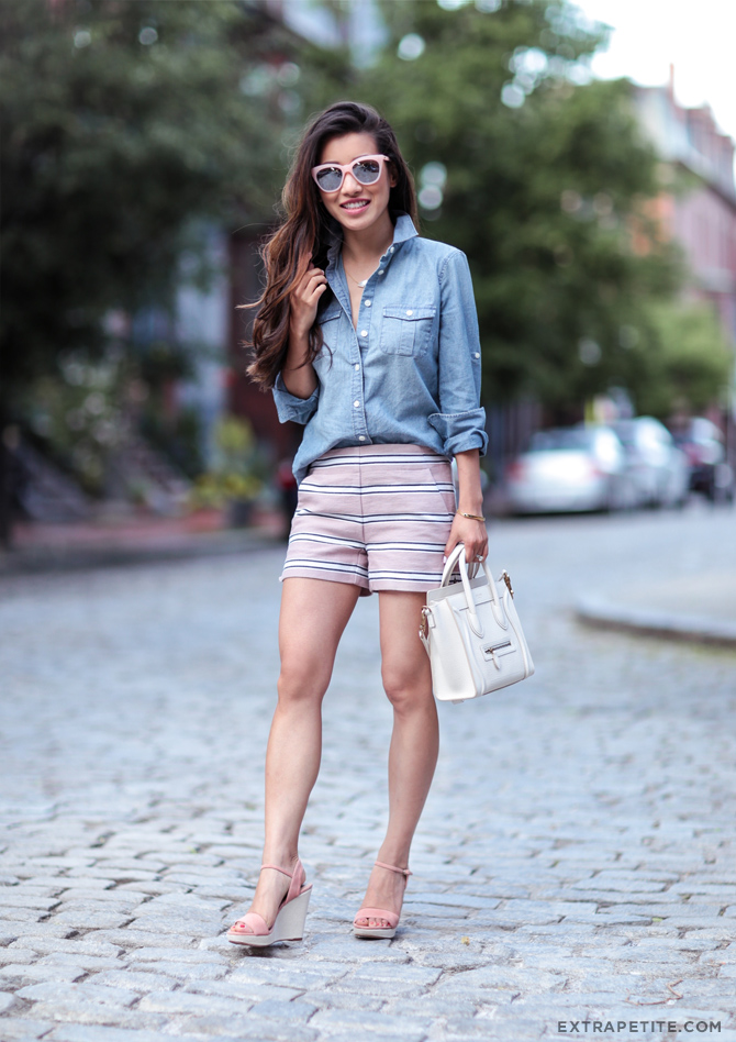 casual summer outfit pink shorts chambray shirt wedges
