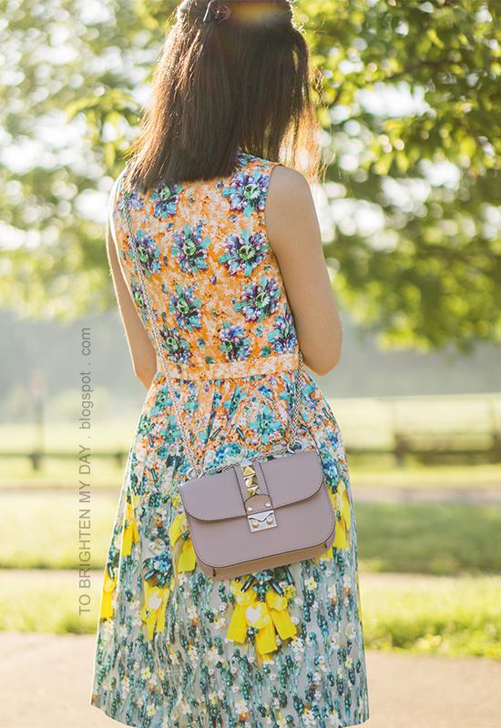 floral patterned dress, nude crossbody bag