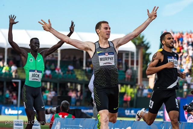 Clayton Murphy takes first place in the Men's 800 meter finals, followed by Boris Berian and Charles Jock on Monday July 4, 2016 at the US Olympic Team Trials at Hayward Field in Eugene, Ore. (photo by Liz Copan)