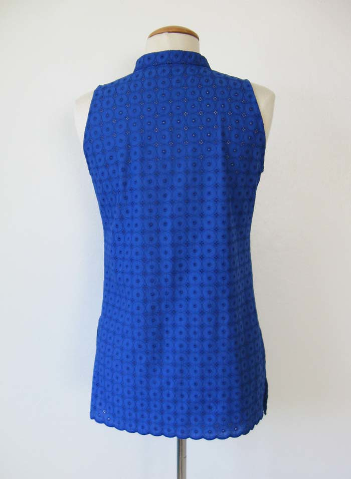 blue eyelet top back view