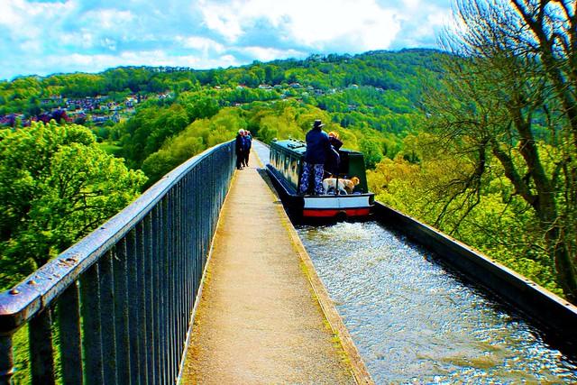 Narrow Boat crossing Pontcysyllte Aqueduct,Wales