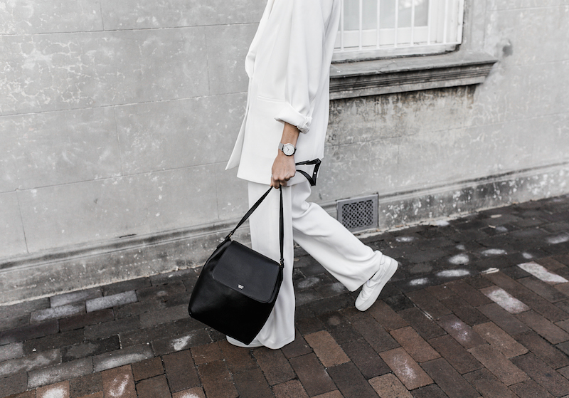 all white suit street style inspo fashion blogger celine Loxley bucket bag sneakers modern legacy minimal Instagram (6 of 18)