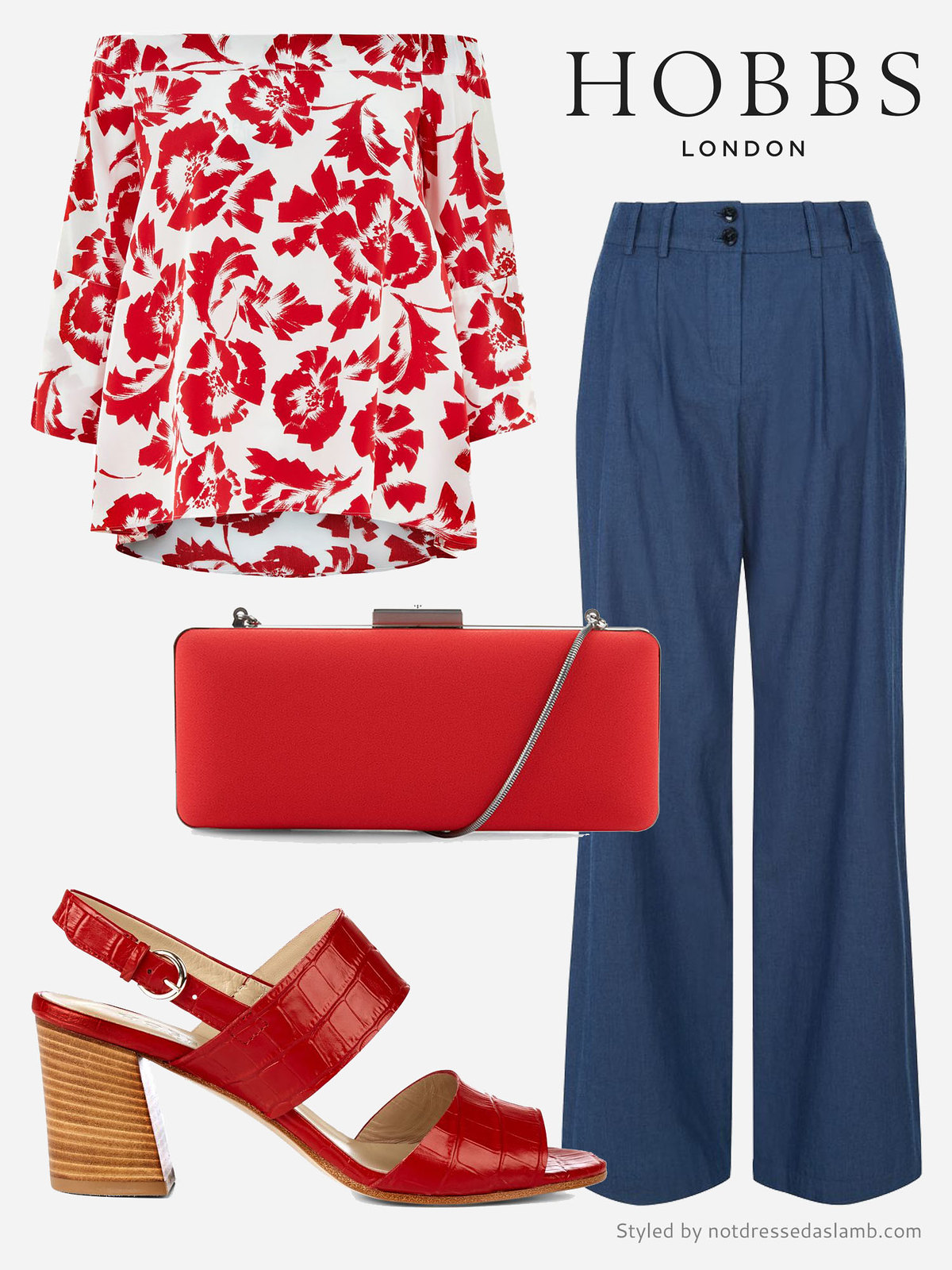 Date night outfit: Red off-the-shoulder- floral top, denim wide leg trousers | Hobbs SS16 styled by Not Dressed As Lamb