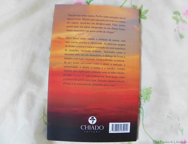 contracapa, sinopse, Resenha, livro, Mãos-Livres, Francine-S-C-Camargo, chiado, cronicas