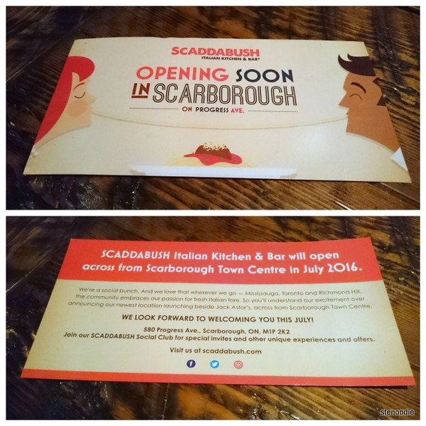 Scarborough location of Scaddabush opening soon