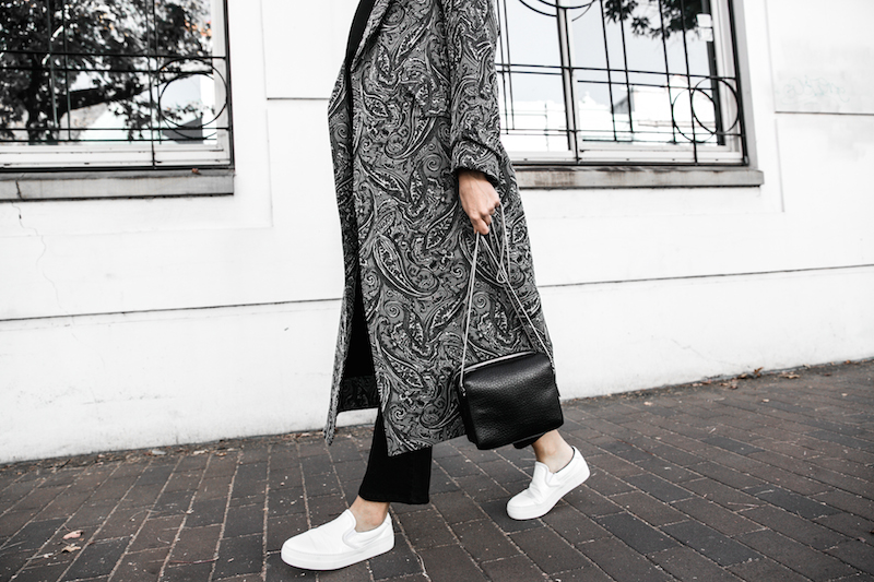 NAKED VICE x MODERN LEGACY affordable luxury bag chain celine like sneakers Ellery paisley coat outfit street style inspo