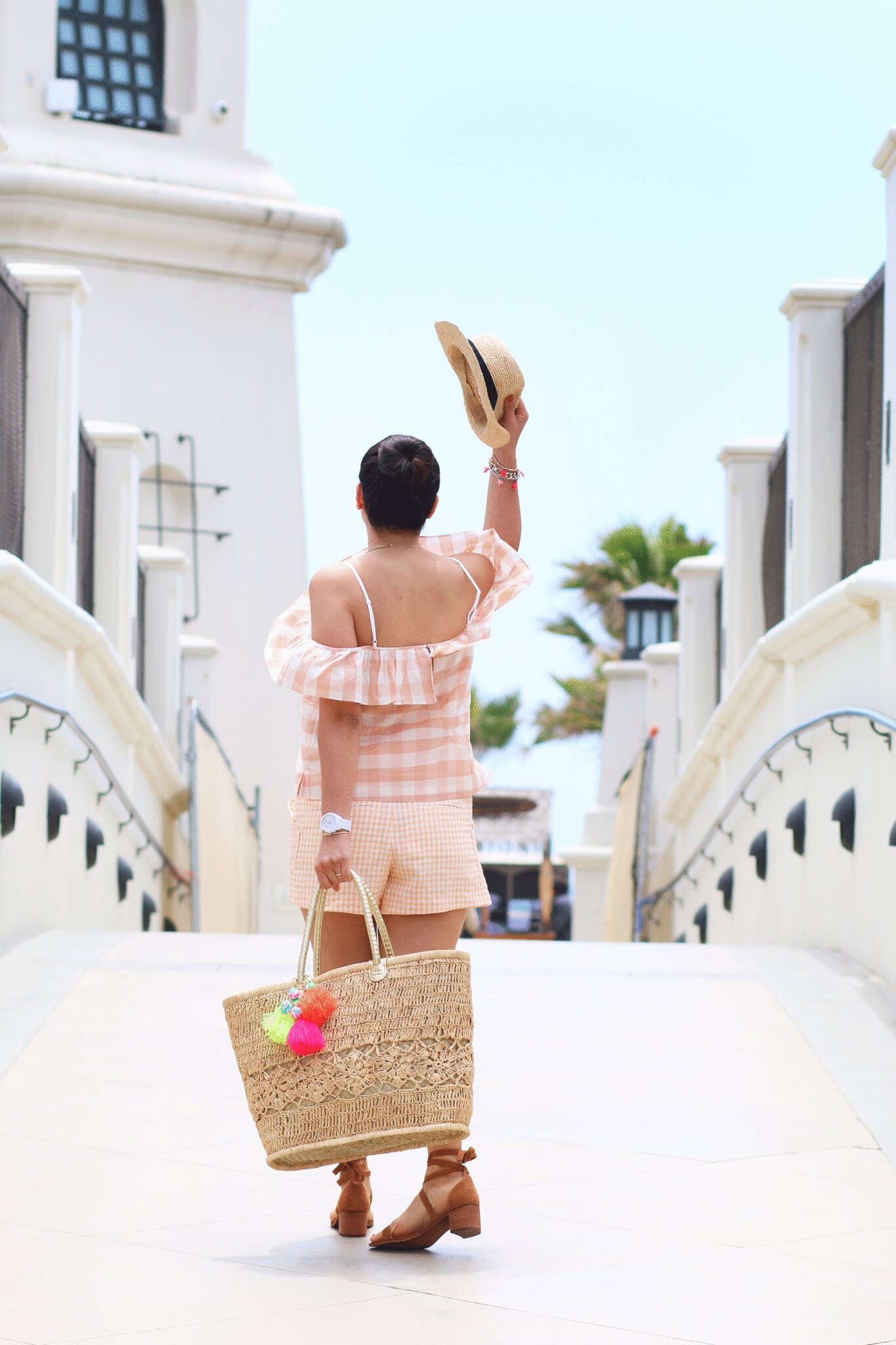 miriam gin, simplyxclassic, orange county blogger, fashion, club monaco outfit, checkered off the shoulder top, gingham shorts, preppy outfit, summer outfit, cute, lilly pulitzer straw tote, steve madden sandals,