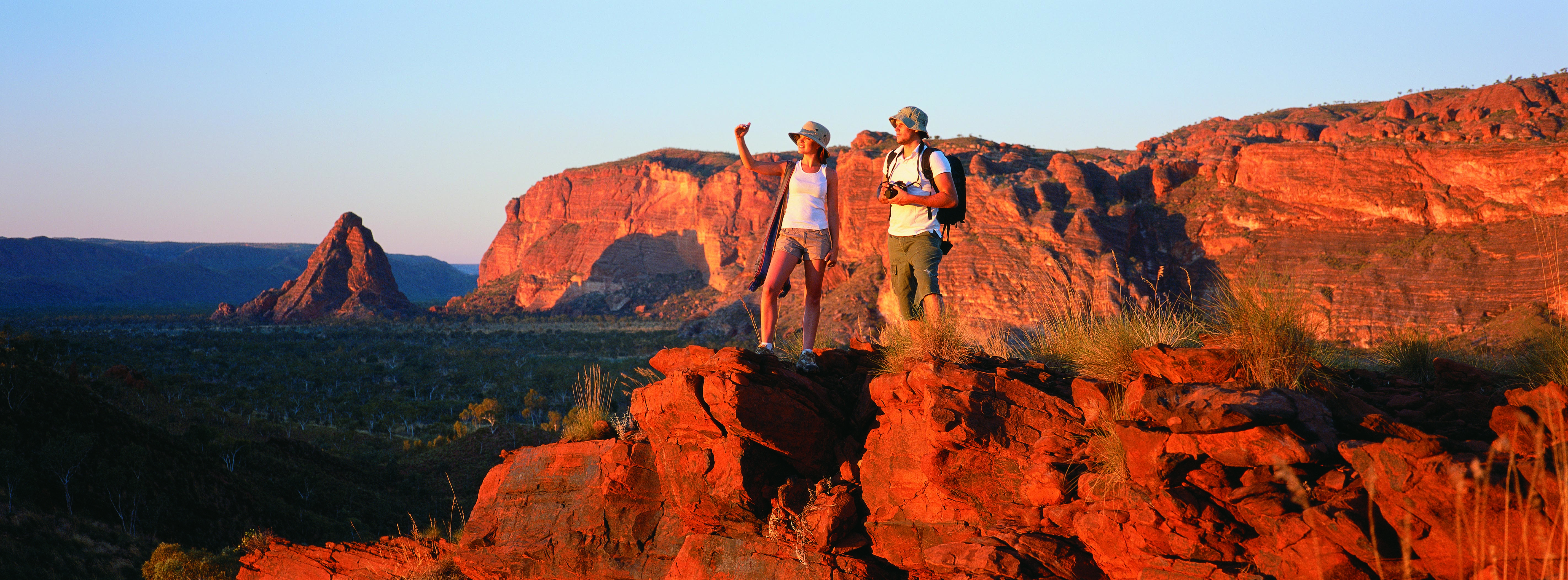Couple holidaying in Purnululu, outback Australia