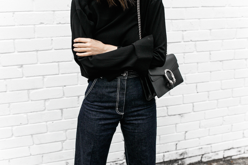 gucci dionysus black chain bag rachel comey wide leg jeans street style inspo minimal fashion blogger fur horsebit loafer Instagram (11 of 14)