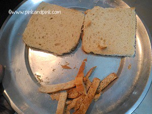 Trim the edges of bread slices