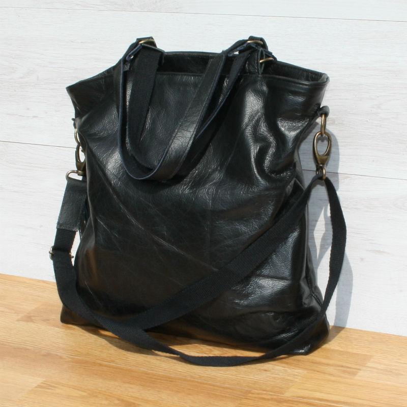 zwarte leren tas, handgemaakt