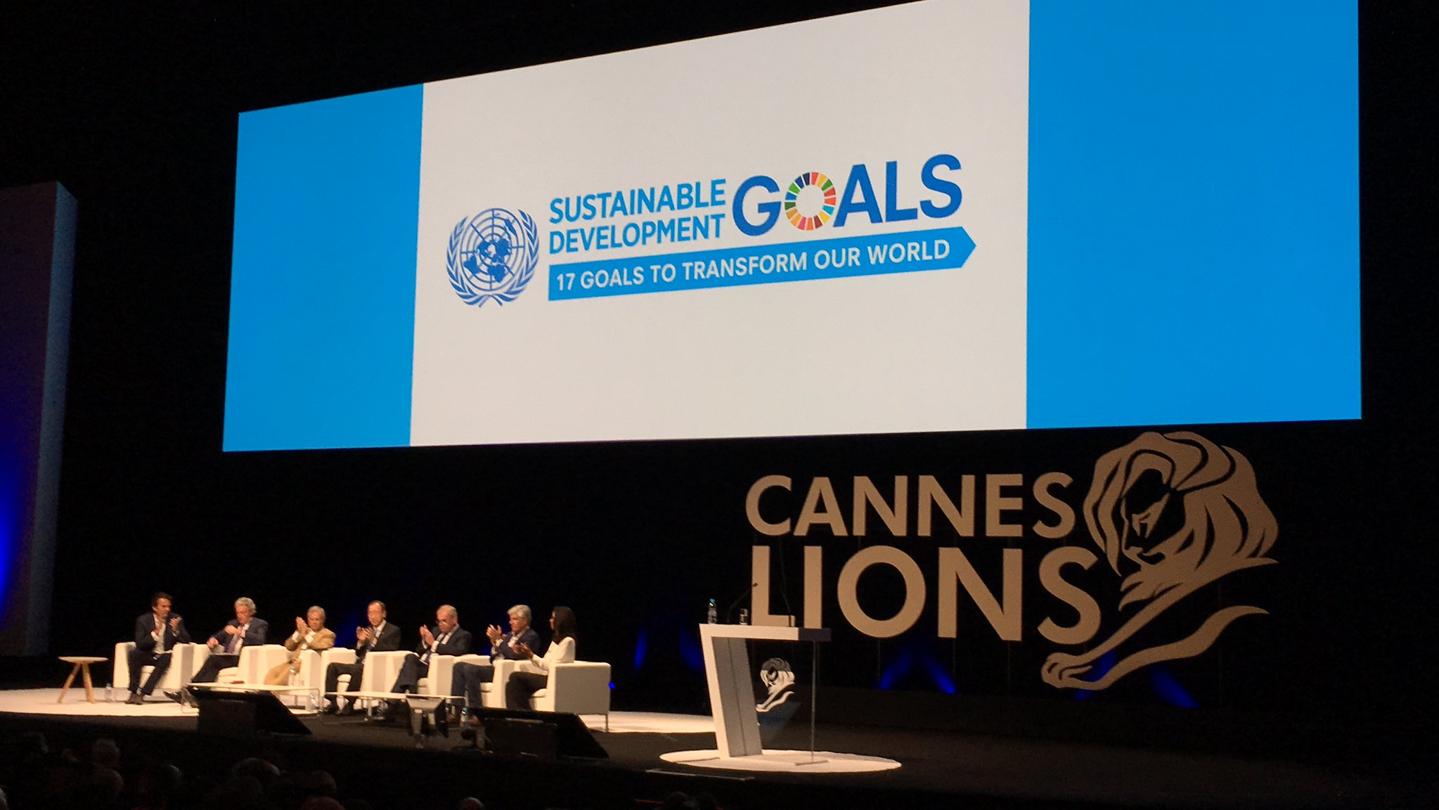 "United Nations Secretary-General Ban Ki-moon and five of the big six on stage at ""The Cannes Debate"" at Palais des Festivals, France. PVBLIC Photo/Sergio Fernandez de Cordova"