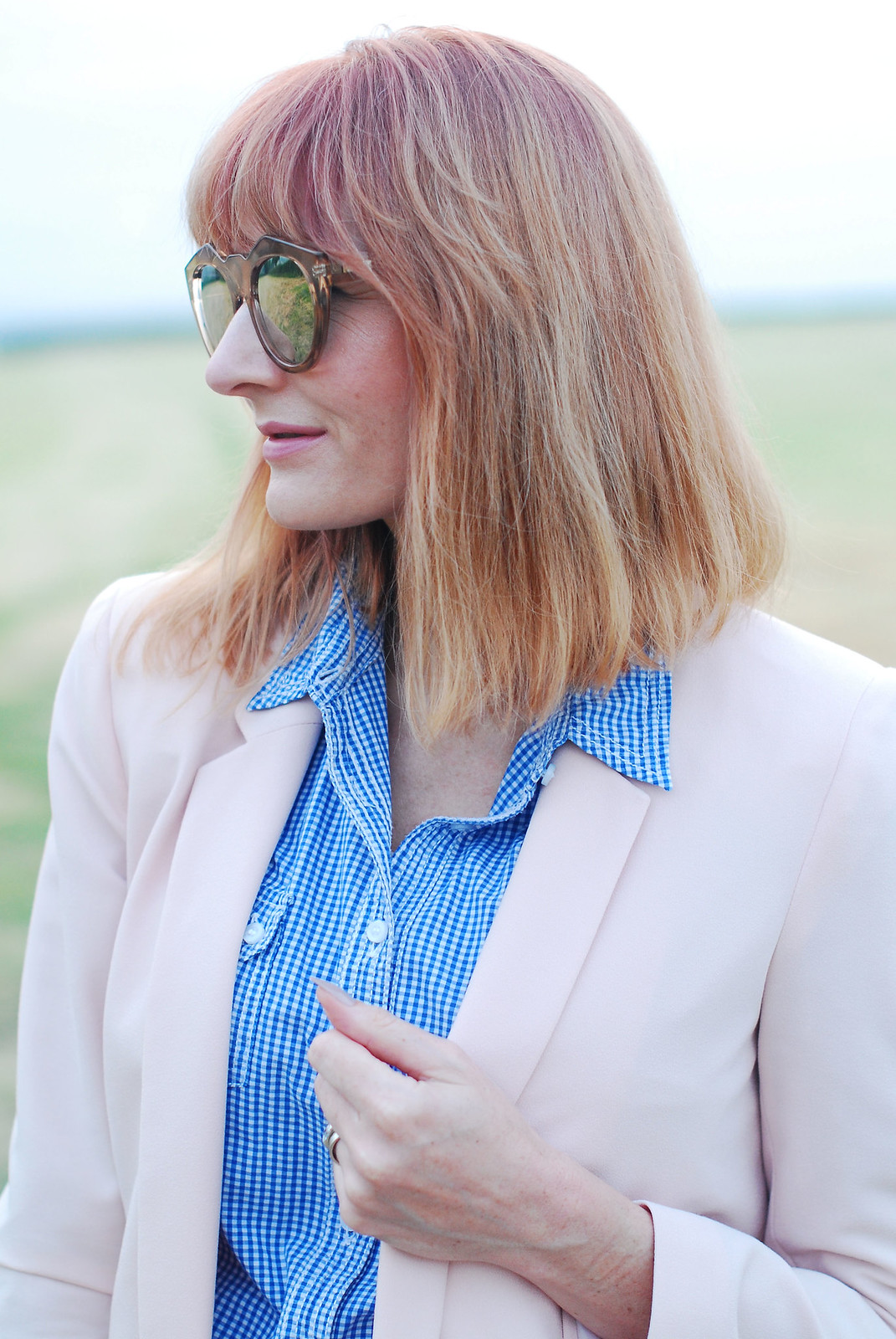 Summer workwear: Pale pink trouser suit, blue gingham shirt | Not Dressed As Lamb