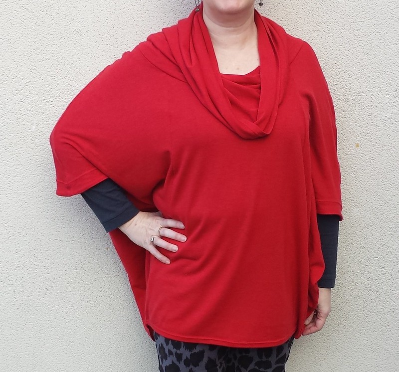 Hot Patterns Jetsetter Poncho in wool blend knit from Super Cheap Fabrics