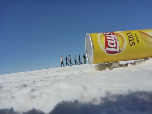 Dennis, Paul, Danielle, Dee, James and Holly walking out of a Lays can