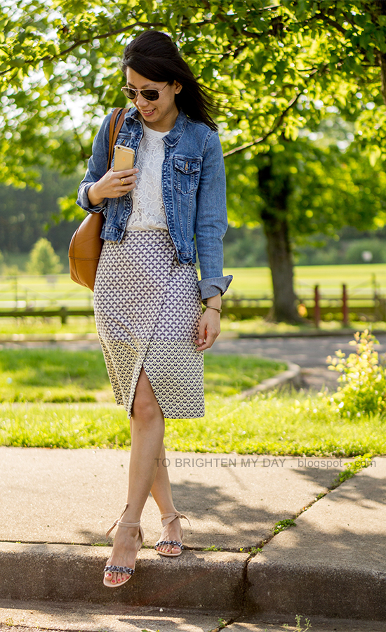 denim jacket, lace shell, brocade wrap skirt, cognac brown tote, jeweled sandals