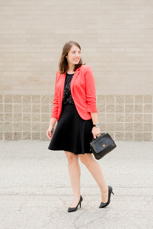red blazer + black and white patterned blouse + black Old Navy skirt + black Target heels; work outfit | Style On Target