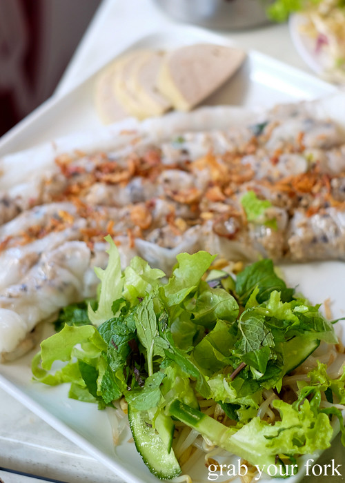 Banh cuon thit cha steamed rice noodle rolls with pork mince from Thy Vietnamese Eatery, Bankstown