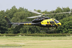 G-NLSE - 1987 build Aerospatiale AS355F2 Ecureuil II, heading to the JetA1 pad at Barton for a night-stop