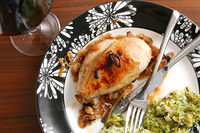 roasted chicken with caramelized shallots