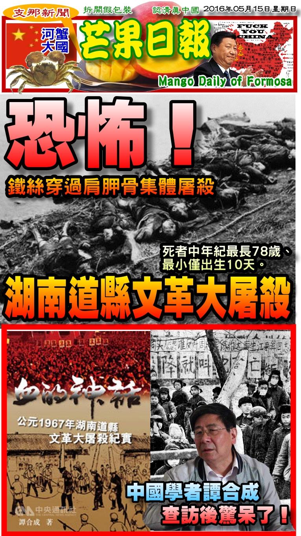 160515芒果日報--支那新聞--湖南文革大屠殺,老弱婦孺無倖免