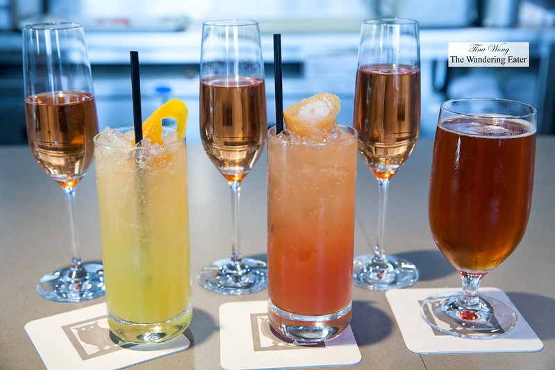 Our beverages - Glasses of Champagne Paul Bara, Bouzy, Brut Rosé Grand Cru, yuzu soda, blood orange soda, Evolution Seasonal Beer