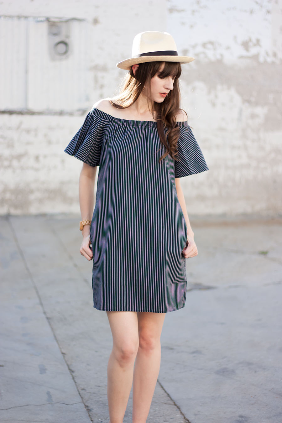 Banana Republic Flutter Sleeve Dress, Navy Striped Dress, Pananma Hat