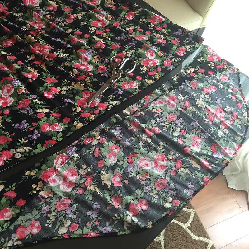 Floral T-Shirt Dress Refashion - In Progress