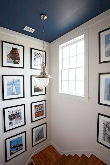 Blue Ceiling | Gallery Wall in Stairwell | Benjamin Moore Van Beusen Blue