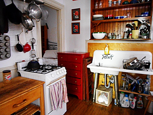 red dresser to kitchen