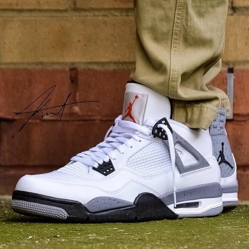 White/Cement Air Jordan 4 on the feet of @kurt_18 SneakerFiles.com #sneakerfiles #airjordan #wdywt