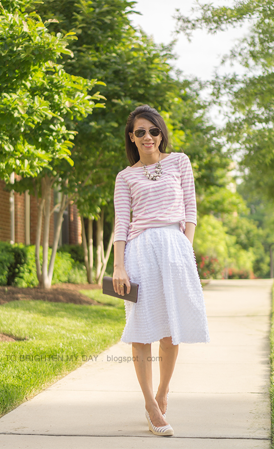mixed pearl necklace, pink striped top, white midi skirt, taupe clutch, striped espadrille wedges