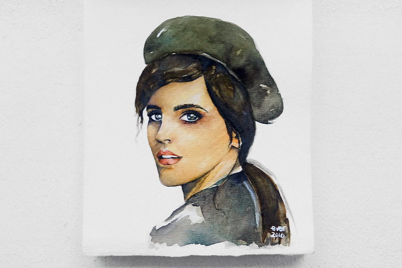 Sundae Scoops Watercolor portrait of an actress by Elaine Valerie Ramos