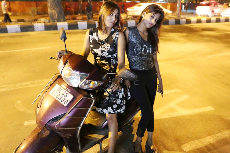 City Moment - Two Women Bikers in Late Night Delhi,  Bhishma Pitamah Marg
