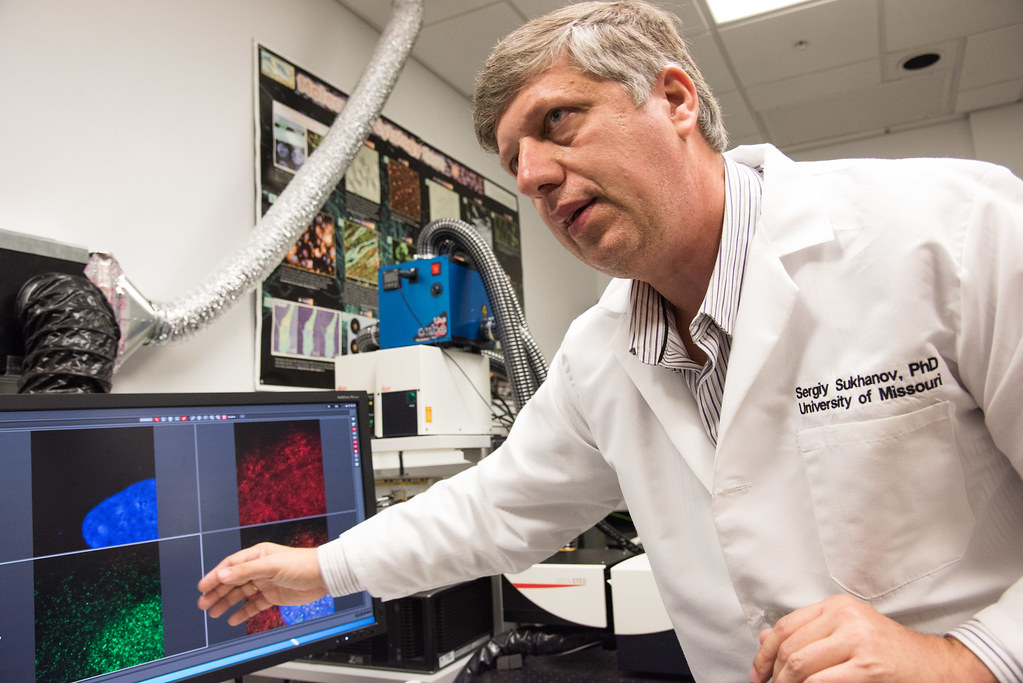 Sergiy Sukhanov explains how he uses a confocal microscope in MU's Molecular Cytology Core to study atherosclerosis and heart disease. | photo by Roger Meissen, Bond LSC