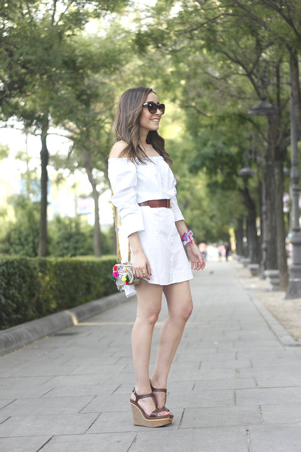 Off the shoulders striped dress belt summer outfit wedges sunnies style05