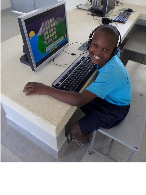 Samuel Nduva 9 years old enjoying his IT lesson