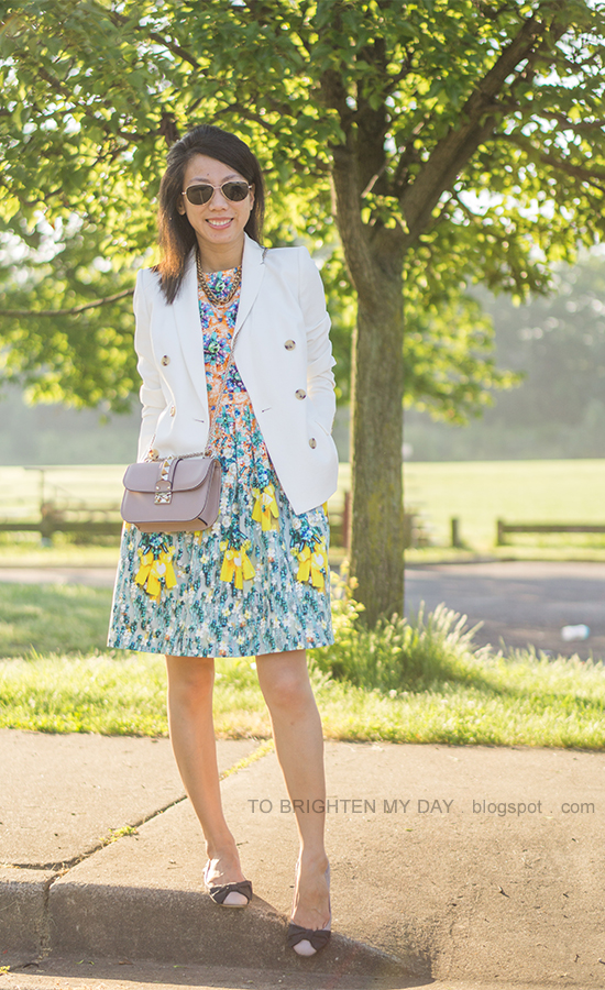 white blazer, floral patterned dress, nude crossbody bag, bow ballerina flats