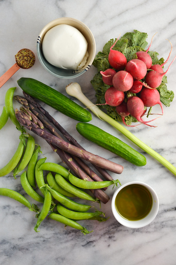 Shaved Asparagus, Radish, Snap Pea, and Cucumber Salad with Burrata | Things I Made Today