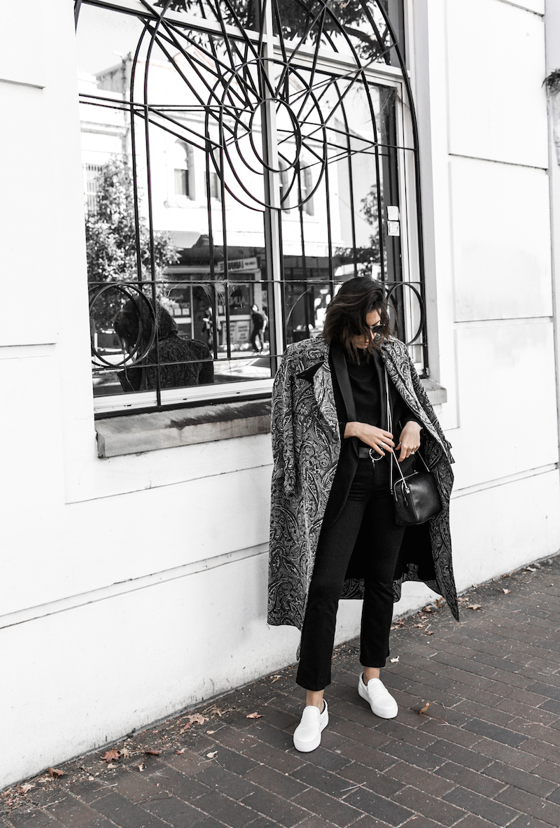 NAKED VICE x MODERN LEGACY affordable luxury bag chain celine like sneakers Ellery paisley coat outfit street style inspo (2 of 19)