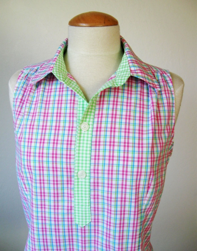 pink placket top close up on form