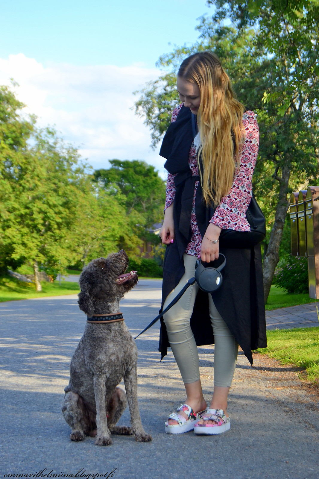 boho shirt outfit with dog