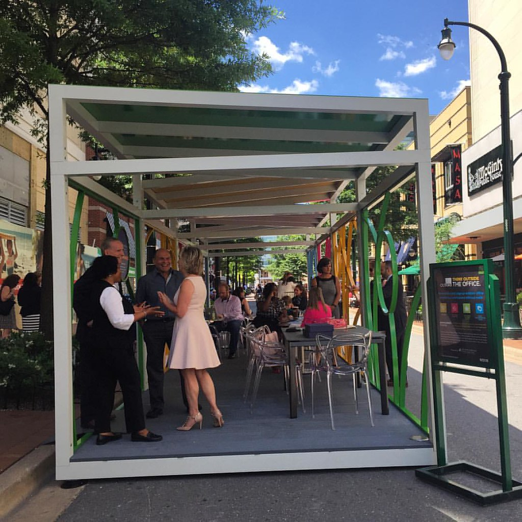 Think outside the office. Opening day for OUTBOX, a pop-up outside office in Silver Spring. #dtss #md #merrland