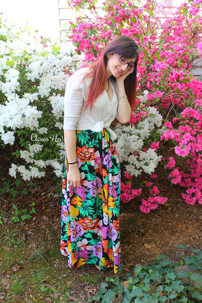 Floral maxi dress layered with a cardigan