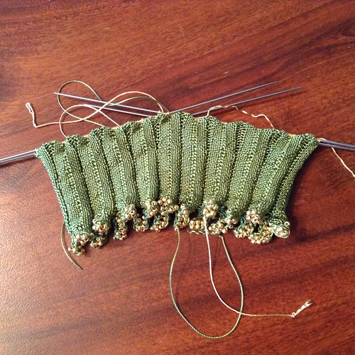 19th century knit pineapple bag leaves