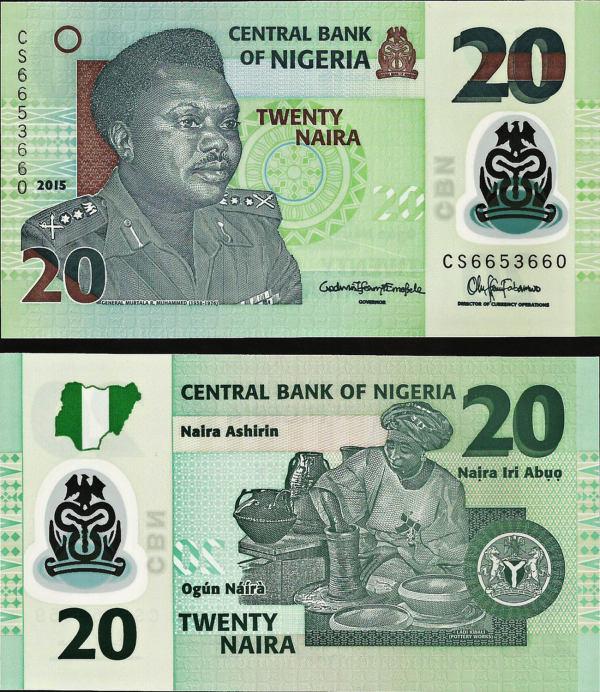 20 Naira Nigéria 2015, polymer P34