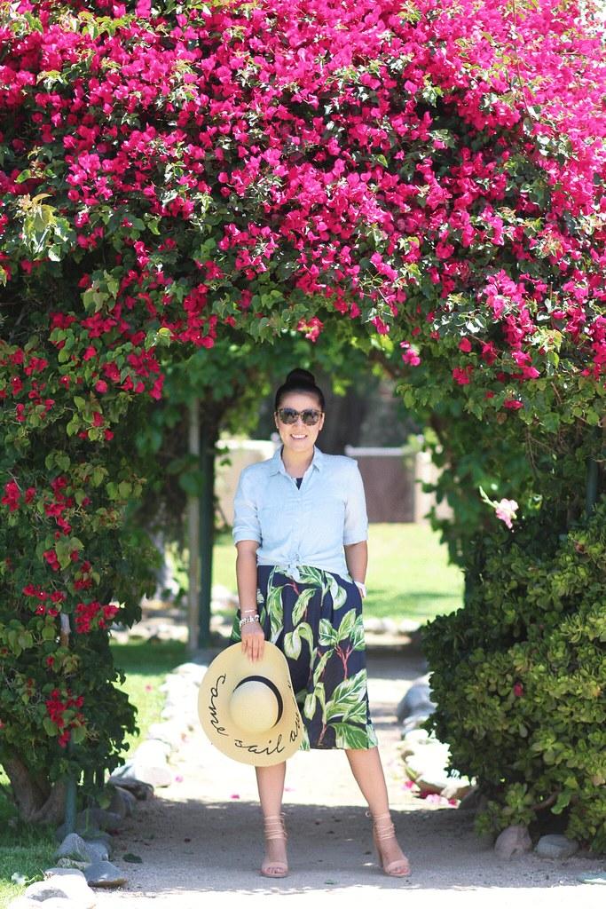 simplyxclassic, miriam gin, ann taylor palm print dress, halter dress, summer, loft top, floppy hat, fashion blogger, lifestyle, orange county, travel blogger in orange county