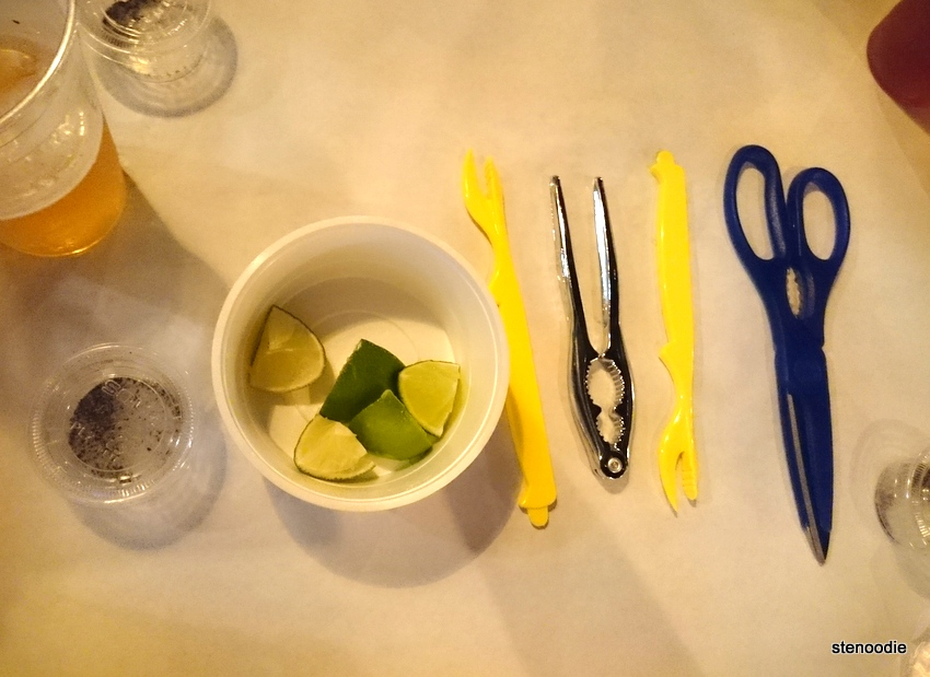 Utensils and limes and pepper & salt